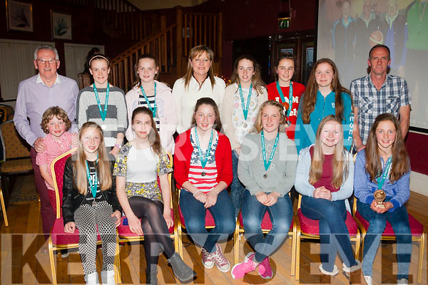 Silver medals<br /> -------------------<br /> Tralee Imperials U14 basketball team who were defeated by Limerick Celtics in the All Ireland final in Portlaoise last week received their silver medals at the clubs annual awards night last Friday evening at O'Donnell's,Tralee (seated) L-R Rachel Kilgallon,Kaylyn Crowe,Ciara Ryan,Abbey Casey,Alison Guerin and Mary O'Connell (back) L-R Jimmy Diggins,Coach,Fionn Ryan,Aoife Dilate,Lara Flynn,Martina Ryan (manager) Rebecca Conway,Rachel Ryan,Alison O'Leary and Martin Conway,Assistant Coach.