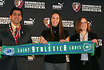 16 January 2009: Kerri Hanks, with head coach Jorge Barcellos and WPS Commissioner Tonya Antonucci, was taken by Saint Louis Athletica with the sixth overall pick. The 2009 inaugural Womens Pro Soccer (WPS) Draft was held at the Convention Center in St. Louis, Missouri in conjuction with the National Soccer Coaches Association of America's annual convention.