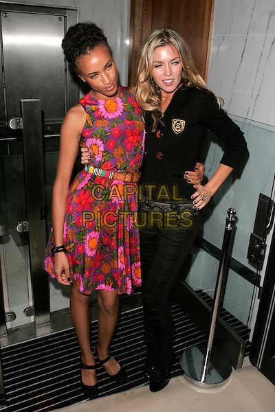 MICHELLE DE SWARTE & ABIGAIL CLANCEY.ITV2 Autumn Launch Party, The Roof Gardens, London, England..August 19th, 2008.full length abbey abby clancy black  jacket hand on hip pink purple floral print dress green nail varnish polish .CAP/AH.©Adam Houghton/Capital Pictures.
