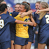 Morgan Camarda #6 of Massapequa hugs goalie Haylee Poltorak #33 as they celebrate with teammates after the Lady Chiefs' 1-0 overtime win over Calhoun in the Nassau County varsity girls soccer Class AA final at Cold Spring Harbor High School on Friday, Nov. 3, 2017. Camarda broke the scoreless tie with a goal in the second half of overtime.