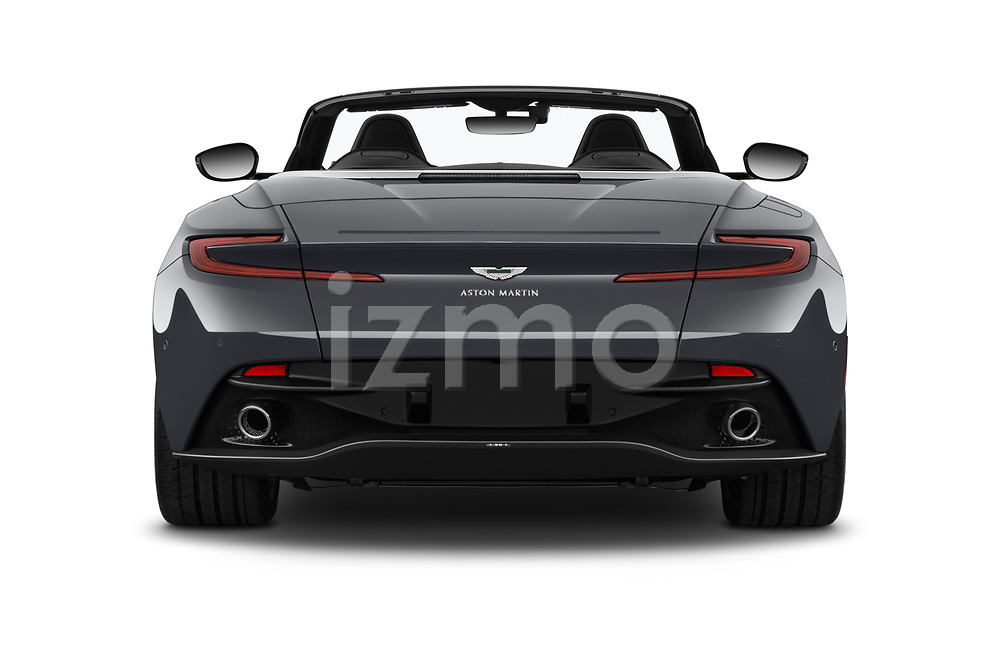 Straight rear view of 2019 Aston Martin DB11-Volante - 2 Door Convertible Rear View  stock images