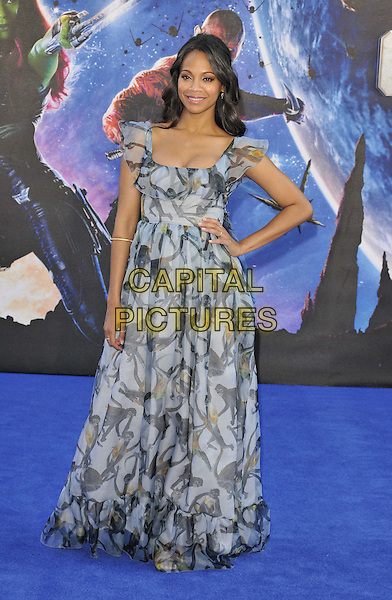 LONDON, ENGLAND - JULY 24: Zoe Saldana attends the 'Guardians Of The Galaxy' UK film premiere, The Empire cinema, Leicester Square, on Thursday July 24, 2014 in London, England, UK. <br /> CAP/CAN<br /> &copy;Can Nguyen/Capital Pictures