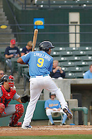 Myrtle Beach Pelicans infielder Jeimar Candelario (9) at bat during a game against the Salem Red Sox at Ticketreturn.com Field at Pelicans Ballpark on May 6, 2015 in Myrtle Beach, South Carolina.  Myrtle Beach defeated Salem 4-2. (Robert Gurganus/Four Seam Images)