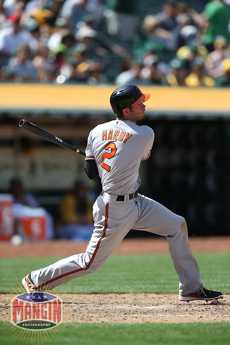 OAKLAND, CA - APRIL 28:  J.J. Hardy #2 of the Baltimore Orioles bats during the game against the Oakland Athletics on Sunday, April 28, 2013 at The O.co Coliseum in Oakland, California. Photo by Brad Mangin