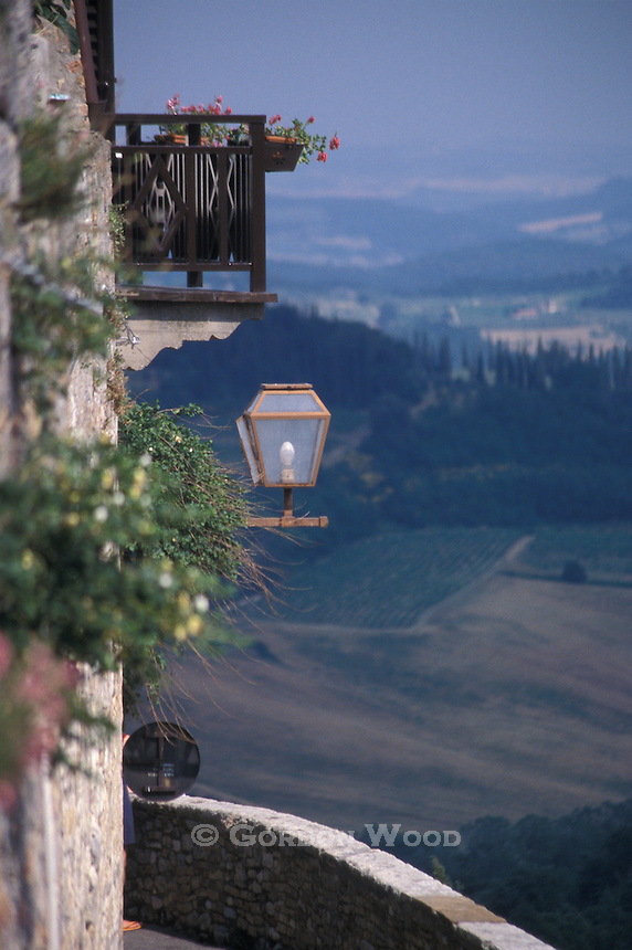 Balcony, Lantern and Daytime View from San Gimignano, Italy