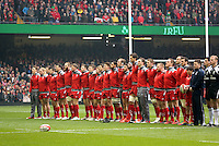 Pictured: The welsh team singing their national anthem Saturday 14 March 2015<br />