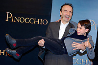 Roberto Benigni as Mister Geppetto and Federico Ielapi as Pinocchio <br /> Rome December 12th 2019. Pinocchio Photocall in Rome<br /> Foto Samantha Zucchi Insidefoto