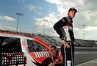 May 1, 2009; Richmond, VA, USA; NASCAR Sprint Cup Series driver Joey Logano during qualifying for the Russ Friedman 400 at the Richmond International Raceway. Mandatory Credit: Mark J. Rebilas-