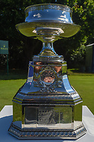 The KPMG Women's PGA Championship trophy sits idle on the first tee during round 1 of the 2018 KPMG Women's PGA Championship, Kemper Lakes Golf Club, at Kildeer, Illinois, USA. 6/28/2018.<br /> Picture: Golffile | Ken Murray<br /> <br /> All photo usage must carry mandatory copyright credit (&copy; Golffile | Ken Murray)