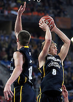 Herbalife Gran Canaria's Spencer Nelson (l) and Brad Newley during Spanish Basketball King's Cup semifinal match.February 07,2013. (ALTERPHOTOS/Acero) /NortePhoto