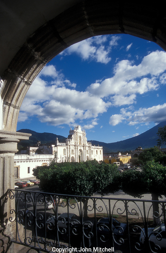 The Plaza de Armas and Cathedral in the Spanish colonial city of Antigua, Guatemala