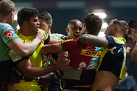 Tempers flare between players from both sides. Aviva Premiership match, between Harlequins and Sale Sharks on October 6, 2017 at the Twickenham Stoop in London, England. Photo by: Patrick Khachfe / JMP