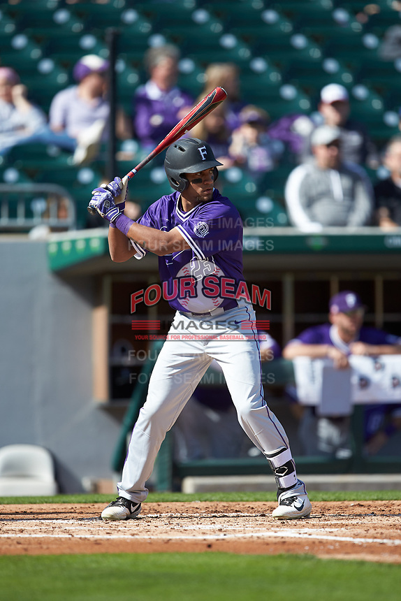 Jordan Starkes (23) of the Furman Paladins at bat against the Wake Forest Demon Deacons at BB&T BallPark on March 2, 2019 in Charlotte, North Carolina. The Demon Deacons defeated the Paladins 13-7. (Brian Westerholt/Four Seam Images)