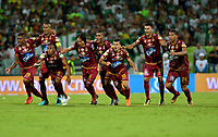 MEDELLÍN - COLOMBIA, 09-06-2018: Los jugadores de Deportes Tolima celebran la victoria sobre Atlético Nacional durante partido de vuelta de la final entre Atlético Nacional y Deportes Tolima, por la Liga Águila I 2018, jugado en el estadio Atanasio Girardot de la ciudad de Medellín. / The players of Deportes Tolima the victory over Atletico Nacional, during a match of the final of the second leg between Atletico Nacional and Deportes Tolima for the Aguila League I 2018, played at Atanasio Girardot stadium in Medellin city. Photo: VizzorImage / León Monsalve / Cont.