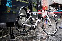 World Champion Alejandro Valverde's (ESP/Movistar) steed<br /> <br /> 105th Liège-Bastogne-Liège 2019 (1.UWT)<br /> One day race from Liège to Liège (256km)<br /> <br /> ©kramon