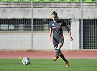 20131025 - LIVADIA , GREECE : Belgian Tessa Wullaert pictured during the matchday - 1 training from  Belgium , on  matchday minus 1 on the third matchday in group 5 of the UEFA qualifying round to the FIFA Women World Cup in Canada 2015 at the Levadia Municipal Stadium  , Livadia . friday 25th October 2013. PHOTO DAVID CATRY