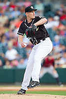 Charlotte Knights starting pitcher Erik Johnson (15) in action against the Scranton/Wilkes-Barre RailRiders at BB&T Ballpark on July 17, 2014 in Charlotte, North Carolina.  The Knights defeated the RailRiders 9-5.  (Brian Westerholt/Four Seam Images)