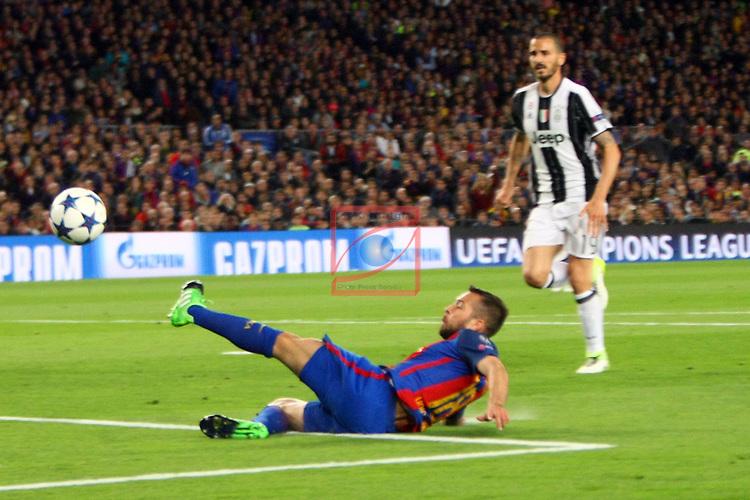UEFA Champions League 2016/2017.<br /> Quarter-finals 2nd leg.<br /> FC Barcelona vs Juventus Football Club: 0-0.<br /> Jordi Alba.
