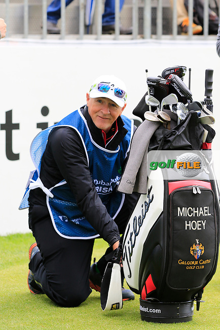 Michael Hoey's (NIR) caddy Gerry during Wednesday's Pro-Am of the 2016 Dubai Duty Free Irish Open hosted by Rory Foundation held at the K Club, Straffan, Co.Kildare, Ireland. 18th May 2016.<br /> Picture: Eoin Clarke | Golffile<br /> <br /> <br /> All photos usage must carry mandatory copyright credit (&copy; Golffile | Eoin Clarke)