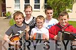 Sean Kelliher Fossa, Sinead Moynihan Glenflesk, Tadgh O'Siochru? Tousist, Mike Kelliher Fossa and Darragh O'Siochru? Tousist playing their tunes at the Killarney Fleadh Cheoil Chiarrai? competitons in Killarney on Saturday