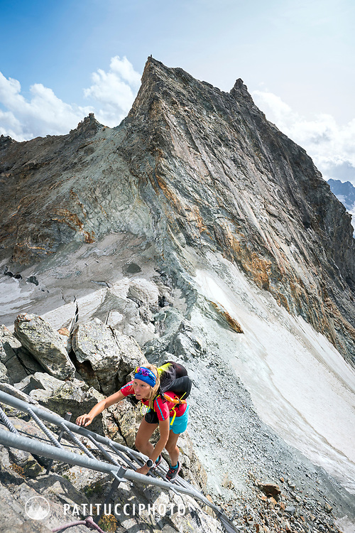 The Chamonix to Zermatt Glacier Haute Route. In late August 2017, we ran the tour in mountain running gear, running shoes, and all the necessary glacier travel and crevasse rescue gear. Climbing the ladders to the Bertol Hut.
