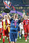 Olympique Lyonnais' Meline Gerard celebrates the victory in the UEFA Women's Champions League 2015/2016 Final match.May 26,2016. (ALTERPHOTOS/Acero)