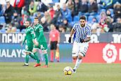 7th January 2018, Estadio Municipal de Butarque, Legales, Spain; La Liga football, Leganes versus Real Sociedad; Willian Jose (Real Sociedad) breaks forward on the ball