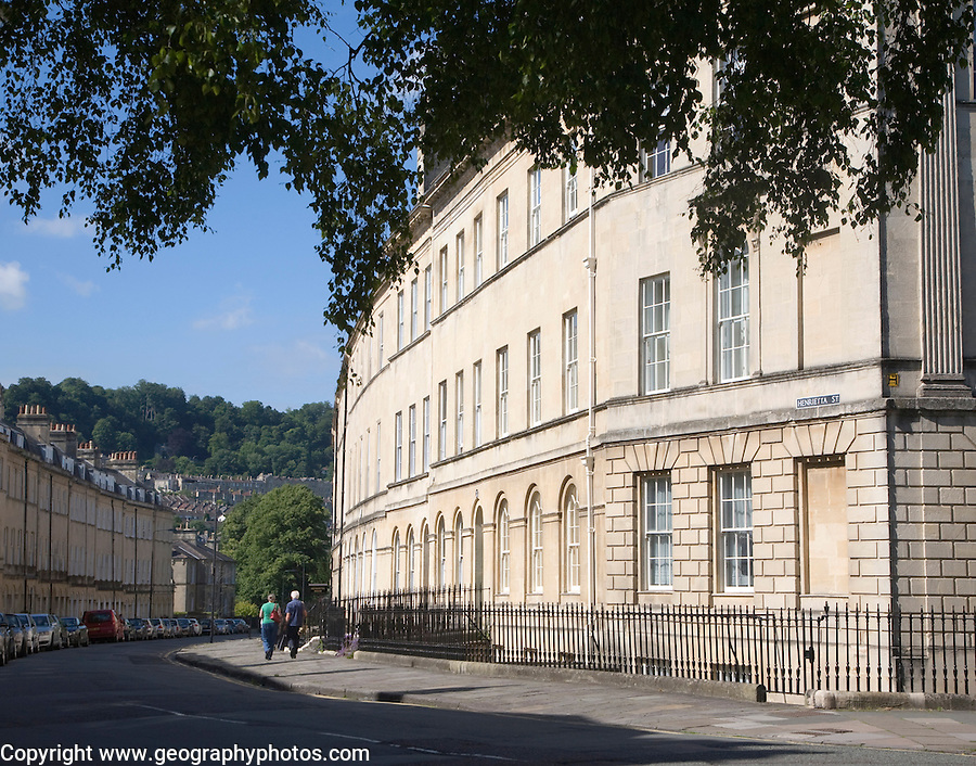 Georgian architecture of buildings in Henrietta Street, Bath, Somerset, England built around 1785 by architect Thomas Baldwin.
