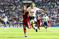 Roberto Firmino of Liverpool and Jan Vertonghen of Tottenham Hotspur during Tottenham Hotspur vs Liverpool, Premier League Football at Wembley Stadium on 15th September 2018
