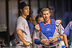 (L-R) Yu Darvish, J.P. Arencibia (Rangers),<br /> APRIL 6, 2014 - MLB :<br /> Pitcher Yu Darvish of the Texas Rangers talks with catcher J.P. Arencibia in the dugout during the baseball game against the Tampa Bay Rays at Tropicana Field in St. Petersburg, Florida, United States. (Photo by Thomas Anderson/AFLO) (JAPANESE NEWSPAPER OUT)