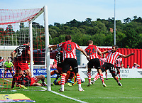 Lincoln City's Michael Bostwick scores his sides second goal<br /> <br /> Photographer Chris Vaughan/CameraSport<br /> <br /> The EFL Sky Bet League Two - Lincoln City v Swindon Town - Saturday 11th August 2018 - Sincil Bank - Lincoln<br /> <br /> World Copyright &copy; 2018 CameraSport. All rights reserved. 43 Linden Ave. Countesthorpe. Leicester. England. LE8 5PG - Tel: +44 (0) 116 277 4147 - admin@camerasport.com - www.camerasport.com