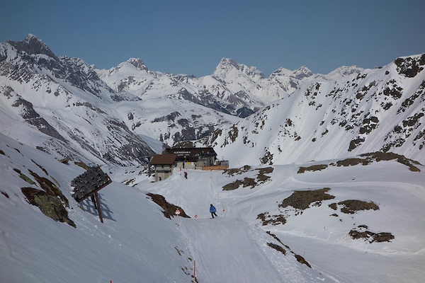 Skiing towards Albona 1 Chairlift at Stuben Ski Area, St Anton, Austria,