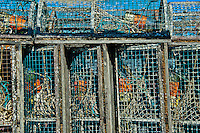 Stacked row of lobster traps, Provincetown, Cape Cod, Massachusetts, USA