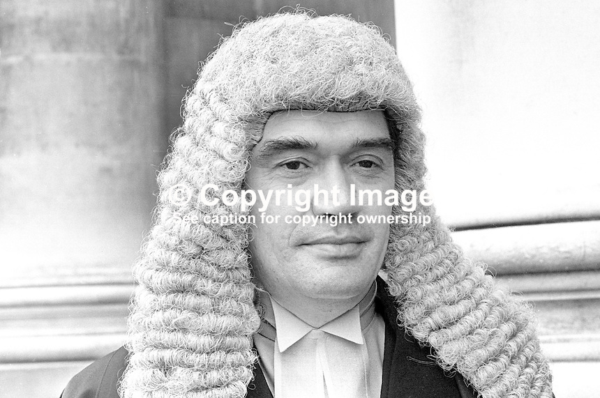 William John Staunton, barrister, N Ireland, UK, taken October 1971. He shortly afterwards he became a magistrate.One year later on 11th October 1972  he was seriously injured in a Provisional IRA gun attack. The shooting occured as Mr Staunton was dropping off his two daughters and two of their friends at St Dominic's High School, on the Falls Road in West Belfast. He died from his injuries 15 weeks later on 25th January 1973. 1971100463a<br />