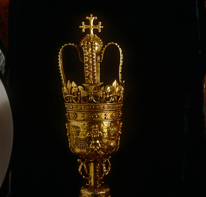 The Lord Chancellor's mace, made of silver gilt and dating from the reign of Charles II, is a symbol of royal authority
