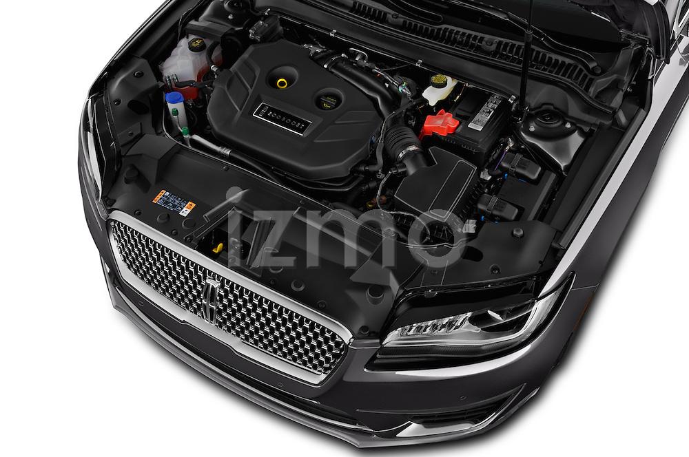 Car Stock 2018 Lincoln MKZ Select 4 Door Sedan Engine  high angle detail view