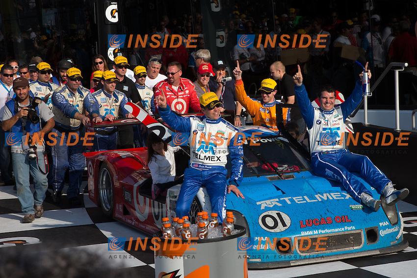 01 Montoya Pruett Rojas Kimball Ganassi BMW Riley - vincitori.28/1/2013 Daytona.Automobilismo Grand AM 24h di Daytona .Foto Andrew Hall / Vision Sport / Panoramic / Insidefoto.ITALY Only