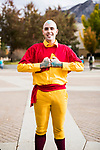 _E1_2391<br /> <br /> 1610-85 GCI Halloween Costumes<br /> <br /> October 31, 2016<br /> <br /> Photography by: Nathaniel Ray Edwards/BYU Photo<br /> <br /> &copy; BYU PHOTO 2016<br /> All Rights Reserved<br /> photo@byu.edu  (801)422-7322<br /> <br /> 2391
