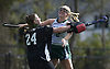 Skylar Reed #2 of Carle Place, right, and goalie Jennifer Tumino #24 celebrate after their team's 6-0 win over Oyster Bay in the Nassau County varsity field hockey Class C final at Berner Middle School in Massapequa on Sunday, Oct. 28, 2018. Reed scored four goals.