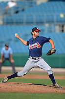 Pitcher AJ Moore (18) of Mountain View High School in Dacula, Georgia playing for the Atlanta Braves scout team during the East Coast Pro Showcase on August 2, 2013 at NBT Bank Stadium in Syracuse, New York.  (Mike Janes/Four Seam Images)