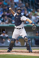 Scranton/Wilkes-Barre RailRiders catcher Erik Kratz (36) makes a throw to first base against the Charlotte Knights at BB&T BallPark on April 14, 2018 in Charlotte, North Carolina.  The RailRiders defeated the Knights 10-5.  (Brian Westerholt/Four Seam Images)