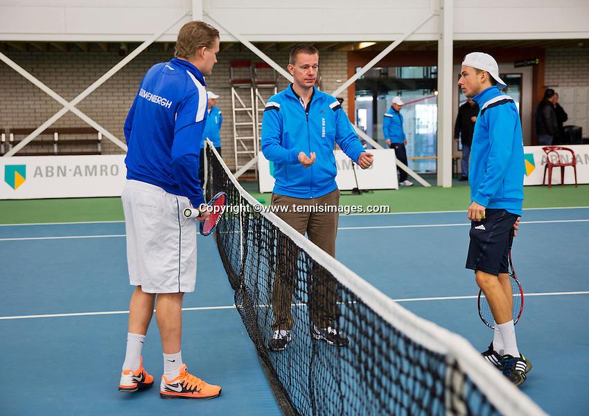 Januari 24, 2015, Rotterdam, ABNAMRO, Supermatch, Toss with Ricardo van Zutphen and Vincent van der Honert (R)<br /> Photo: Tennisimages/Henk Koster