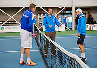 Januari 24, 2015, Rotterdam, ABNAMRO, Supermatch, Toss with Ricardo van Zutphen and Vincent van der Honert (R)<br /> Photo: Tennisimages/Henk Koster