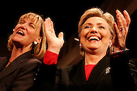 Then-Senator and Democratic Presidential candidate Hillary Clinton and Lieutenant Governor Barbara Lawton spoke to a crowd of several thousand supporters at the Monona Terrace in Madison, WI, the day before the Wisconsin primary election. <br /> <br /> Client: Isthmus<br /> © Michael Forster Rothbart<br /> www.mfrphoto.com <br /> 607-267-4893 o 607-432-5984<br /> 5 Draper St, Oneonta, NY 13820<br /> 86 Three Mile Pond Rd, Vassalboro, ME 04989<br /> info@mfrphoto.com<br /> Photo by: Michael Forster Rothbart<br /> Date: 2/2008    File#:  Canon 20D digital camera frame 2008