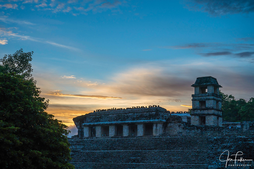 The Palace at sunrise in the ruins of the Mayan city of Palenque,  Palenque National Park, Chiapas, Mexico.  A UNESCO World Heritage Site.