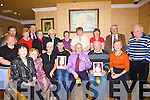 GOLD & SILVER: Celebrating at the North Kerry Pioneers Social in Kirby's Lanterns Hotel, Tarbert on Friday night after receiving their silver and gold pin presentations were Padraig Dennehy, Lixnaw (25 yrs), Tom O'Connor, Lixnaw (golden jubilee pin for 50 yrs) and Jimmy Lenihan, Kilmorna (25 yrs) surrounded by family and friends.