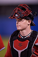 Ball State Cardinals catcher Griffin Hulecki (13) before a game against the Wisconsin-Milwaukee Panthers on February 26, 2016 at Chain of Lakes Stadium in Winter Haven, Florida.  Ball State defeated Wisconsin-Milwaukee 11-5.  (Mike Janes/Four Seam Images)