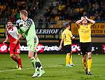 Nederland, Kerkrade, 21 september 2012.Eredivisie.Seizoen 2012-2013.Roda JC-FC Utrecht (0-1).Teleurstelling bij Robbie Wielaert (r.) van Roda JC