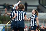 Den Haag - Hoofdklasse hockey dames, HDM-GRONINGEN  (6-2).  Pien van Nes (HDM)  heeft gescoord.  Julia Verschoor (HDM) en Mila Muyselaar (HDM)  COPYRIGHT KOEN SUYK