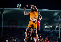 Jaguares' Guido Petti taps down lineout ball during the 2019 Super Rugby final between the Crusaders and Jaguares at Orangetheory Stadium in Christchurch, New Zealand on Saturday, 6 July 2019. Photo: Dave Lintott / lintottphoto.co.nz